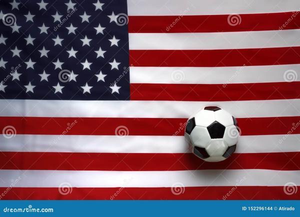USA Flag with soccer ball